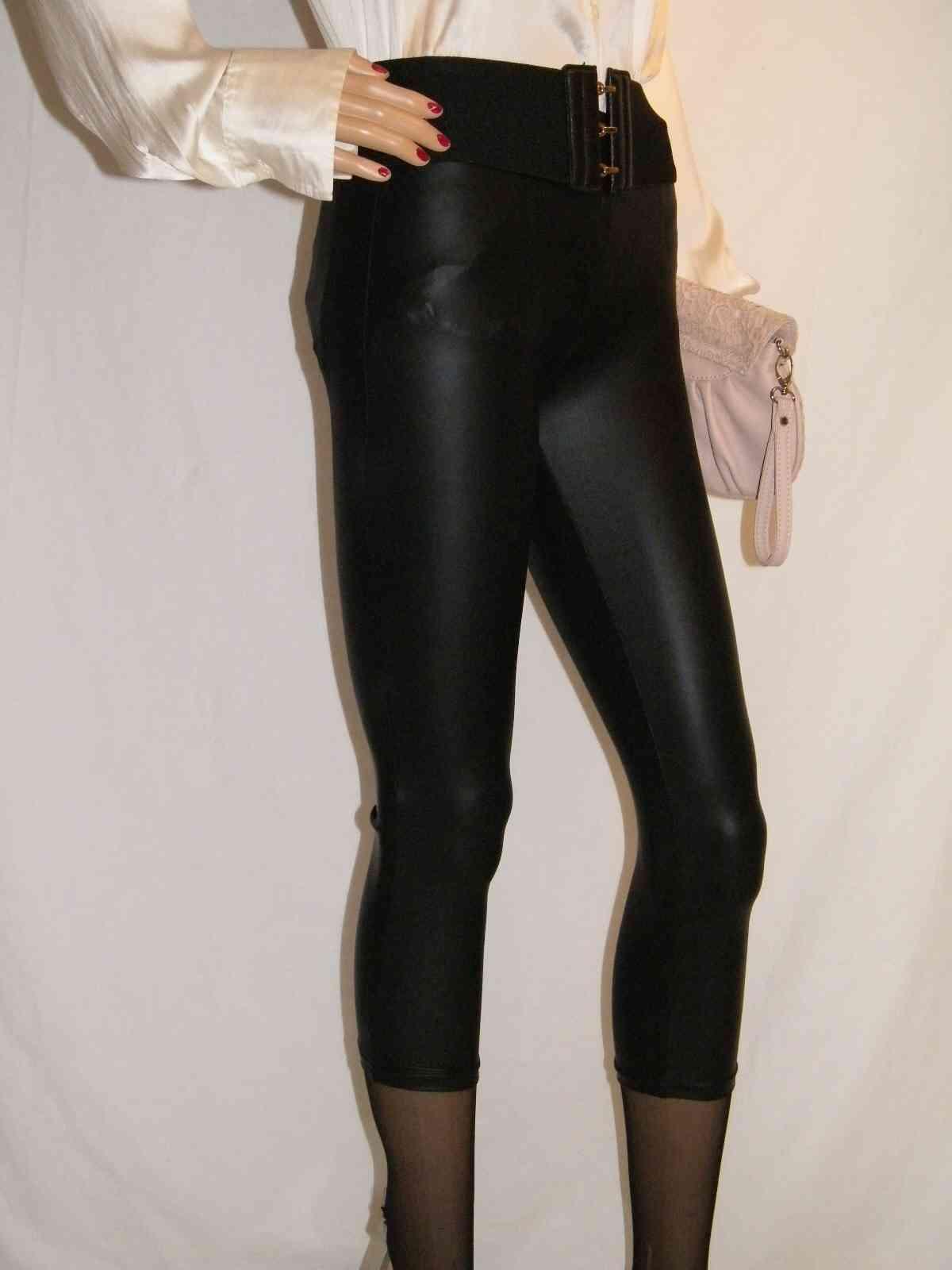 super sexy madonna skinny wetlook capri leder leggings schwarz gl nzend. Black Bedroom Furniture Sets. Home Design Ideas